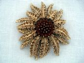 1960's Vintage Brooch signed Sarah Coventry - Golden Sunflower
